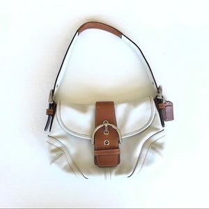 Coach Soho White/Tan Leather Shoulder Bag